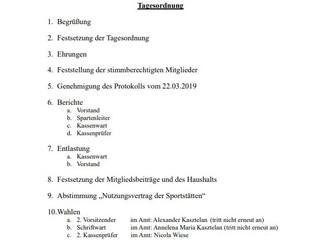 Jahreshauptversammlung nun am 26.08.2020