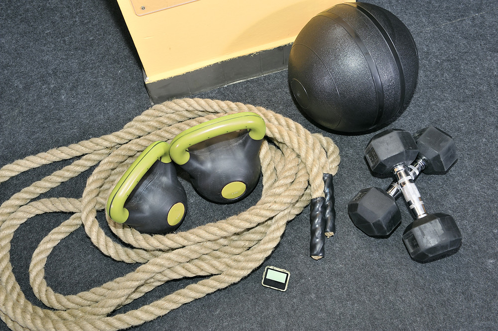 A variety of workout equipment