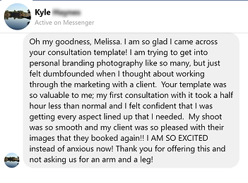 Positive review of personal brand photography class