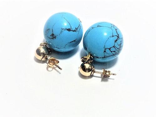 Pendientes Howlita Azul