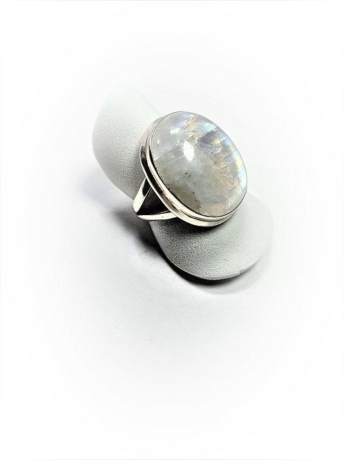 Anillo Piedra Luna Arco Iris