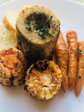 Bone marrow with roasted vegetables. 💯