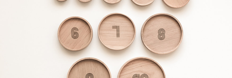 Bestie Green - Wooden Numbered Sorting Plates