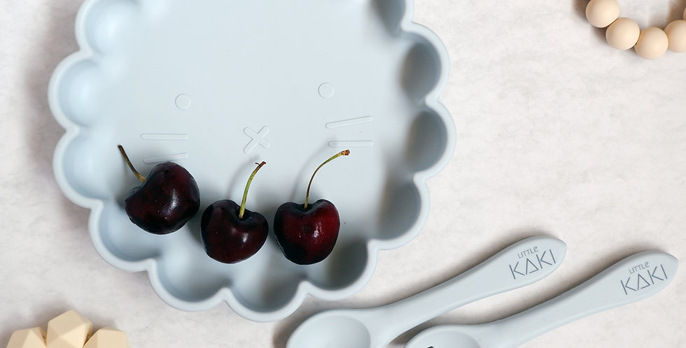 Larry Suction Plate with Matching Fork and Spoon