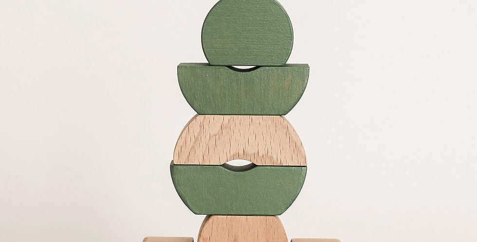 Bestie Green - Wooden Stacking Shapes