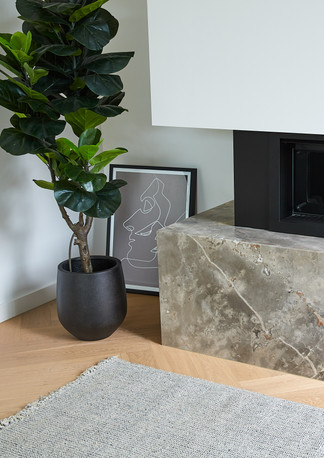 Marble clad black fireplace