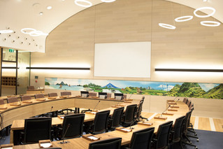 Engineered bamboo used for flooring and furniture at FAO's Philippines conference room.
