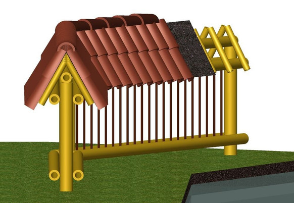 Roofed fence for UDCA.