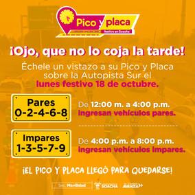 Vuelve el Pico y Placa para el festivo en Soacha