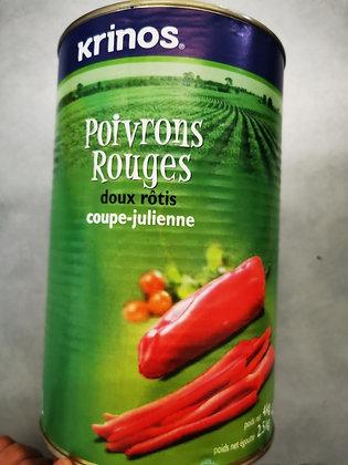 poivrons rouge rôtis coupe julienne