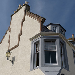 looking up to sitting room bay window