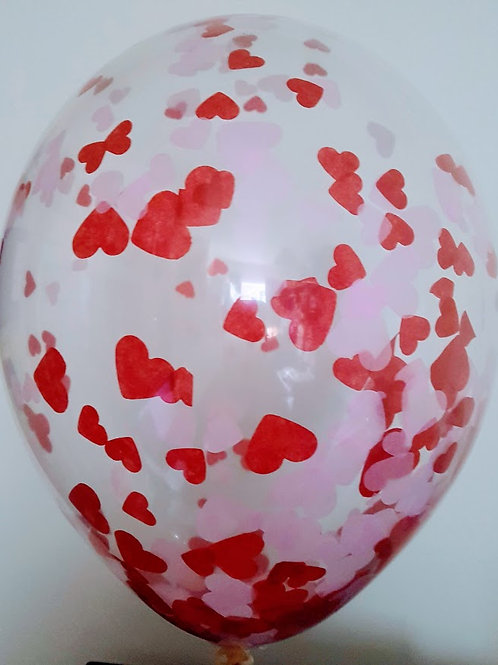 "6 x 11"" Valentines day heart confetti balloons pale pink and red + FREE RIBBON"