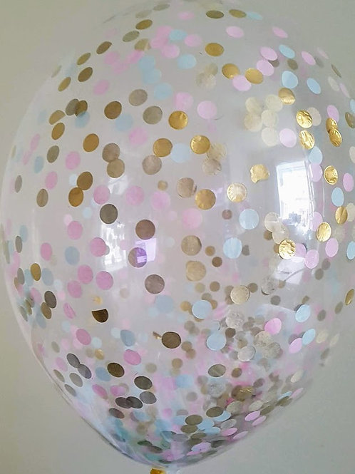 "6 x 11"" Princess confetti balloons Pale Pink, Pale Blue and Gold with fre"