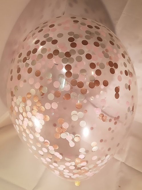 "6 x 11"" Princess  confetti balloons Pale Pink, Silver and RoseGold +FREE ribbon"