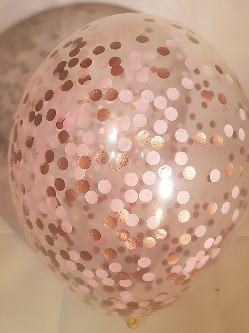 "6 x 11"" Princess  confetti balloons Pale Pink and Rose Gold +FREE"