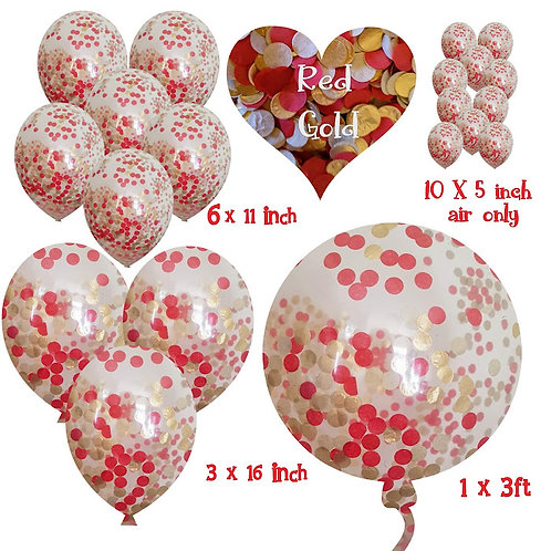 Biodegradable Christmas Balloons Gold and Red confetti and confetti ba