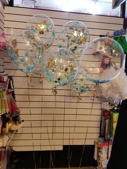 Bubbles with Blue & gold confetti