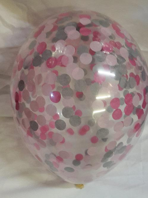 6 x Princess confetti balloons Pale Pink, Fuschia Pink, Silver with free ribbon