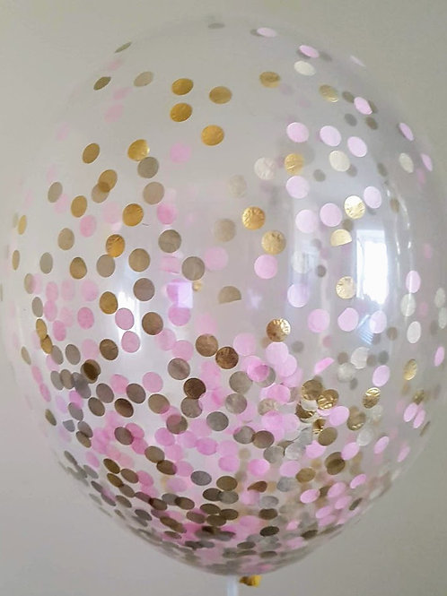"""6 x 11"""" Princess confetti balloons Pale Pink, and Gold with fr"""