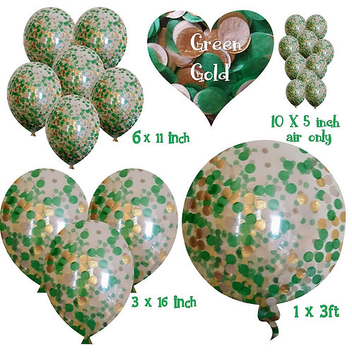 Biodegradable Christmas Balloons Gold and Green confetti and confetti balloons +
