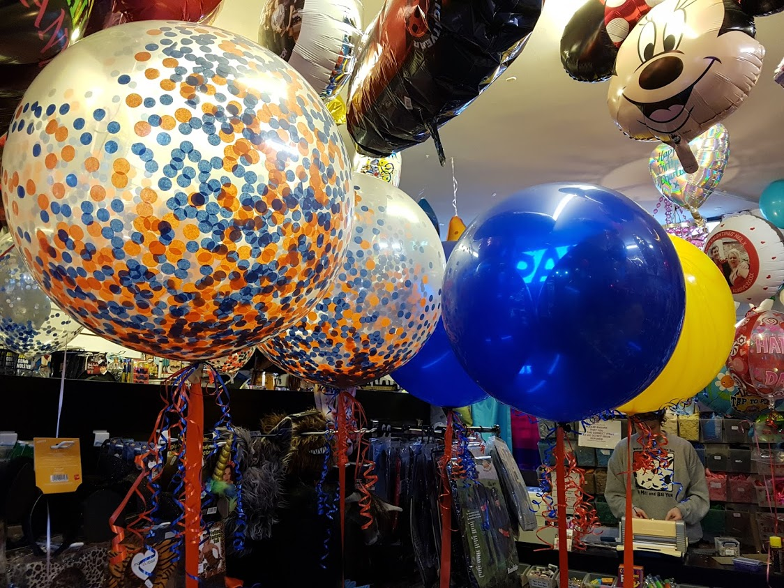 3ft confetti balloons blue & orange