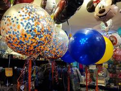 3ft confetti balloons blue & orange
