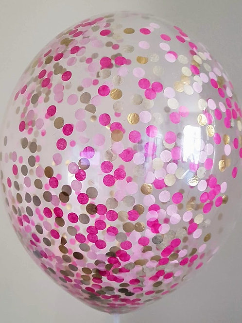 "6 x 11"" Princess  confetti balloons Pale Pink, fuschia Pink and Gold +FREE"