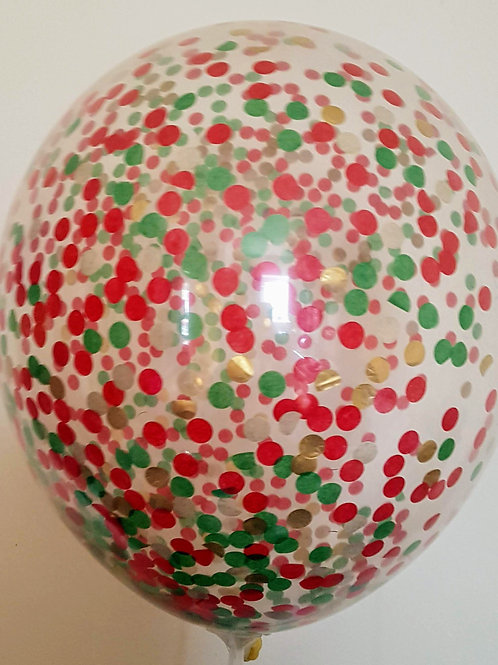 "6 x 11"" Christmas confetti balloons Red Green and Gold +FREE RIBBON"