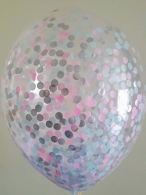 6 x Princess confetti balloons Pale Pink, Pale Blue and Silver with free