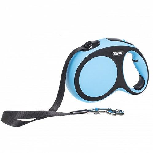 Рулетка Flexi New Comfort tape-лента M - для собак до 25 кг, 5м, чёрно-голубая