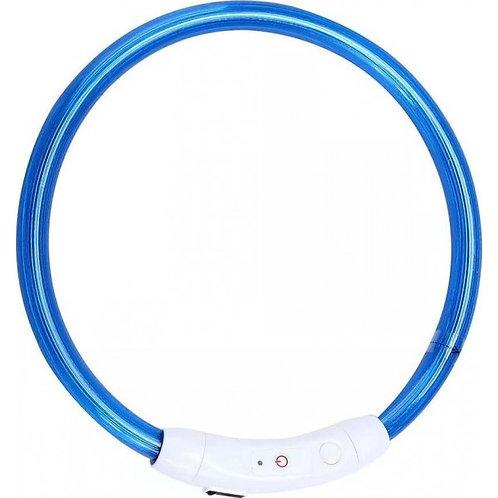 Ошейник маленький светодиодный светящийся USB подзаряжаемый, синий, до 35 см