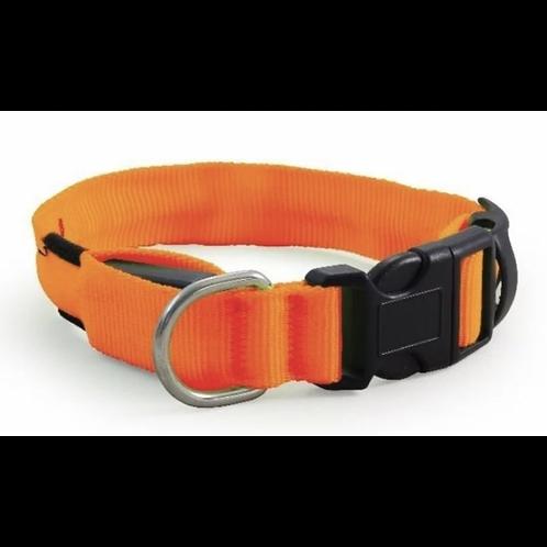 Ошейник нейлоновый светодиодный XL, 51-61 см, оранжевый