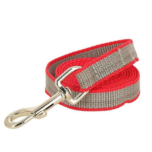 Поводок капроновый для собак, красно-серый, 25*3000мм