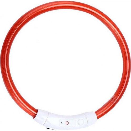 Ошейник большой светодиодный светящийся USB подзаряжаемый, красный, до 70 см