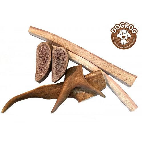 Набор из рогов северного оленя (чипсы, соломка, рога) для маленьких пород собак