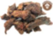 Медвежатина очень полезное и вкусное лакомство для всех пород собак, которое крайне положительно влияет на организм собаки.   Вяленое мясо медведя является экологически чистым, ведь медведи просто не водятся в загрязнённых регионах и питаются только натуральной пищей.   В составе мяса медведя преобладают белки (25,6 г), совсем немного жира (3,1 г) и отсутствуют углеводы.   Очень много в мясе медведя содержится витаминов группы В и витамин РР, а также минералов: магний; марганец; селен; калий; цинк; железо; медь; фосфор.   Благодаря тому, что медведь запасается большим количеством питательных элементов перед зимней спячкой, польза его мяса в осенний период неоценима для собак со слабым иммунитетом.  Медвежье мясо особенно полезно для собак с ослабленным здоровьем в результате продолжительной болезни, помогает при нарушениях пищеварительного тракта и очень полезно при сердечно-сосудистых заболеваниях.   Мясо медведя вяленое идеально подходит для ВСЕХ пород собак.  100% НАТУРАЛЬНЫЙ продук