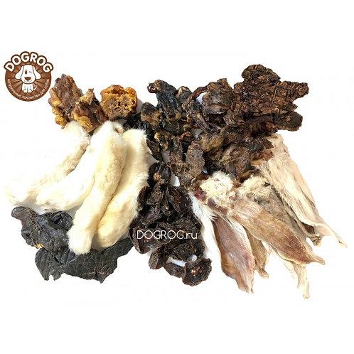 Набор лакомств из кролика: уши, лапы, лёгкое, шеи, печень, почки, 300 гр