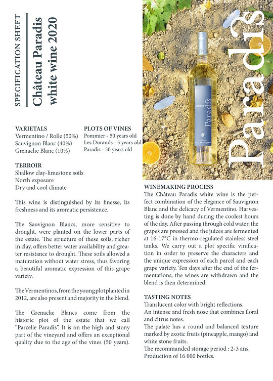 Specification Sheet Château Paradis whi