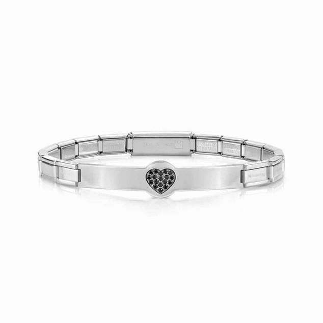 Nomination Trendsetter Stainless Steel & Black Cubic Zirconia Heart Bracelet 021134/022 £39.00