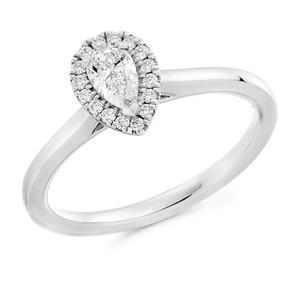 Platinum Pear Cut Diamond Halo ring 1E209 £1550