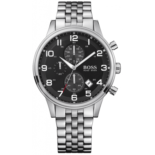 Mens Stainless Steel Black Dial Chronograph Watch SALE - WAS £375 - NOW HALF PRICE £187.50