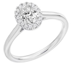 Platinum Oval Diamond Halo Ring 1E210 £1895