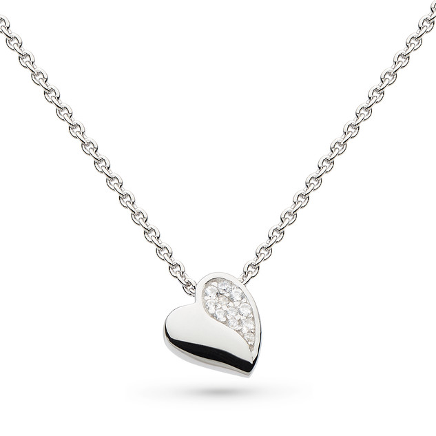 "Miniature Sparkle CZ Sweet Heart 17"" Necklace Rhodium Plated Sterling Silver Product code 90032CZ"