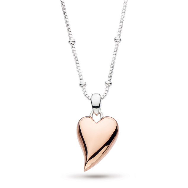 Desire Lust Heart Ball Chain Necklace Rhodium Plate & 18ct Rose Gold Plate £85
