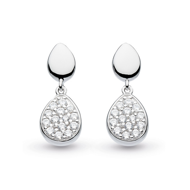 Coast Pebble Glisten Drop Earrings Rhodium Plated Sterling Silver Product code 60188CZ  £65.00