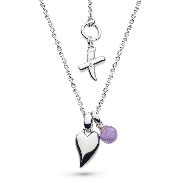 Kit Heath Desire Kiss Crush Mini Heart Rhodium Plate Amethyst Briolette Necklace Rhodium Plated Sterling Silver Product code 90PKAM  £68.00