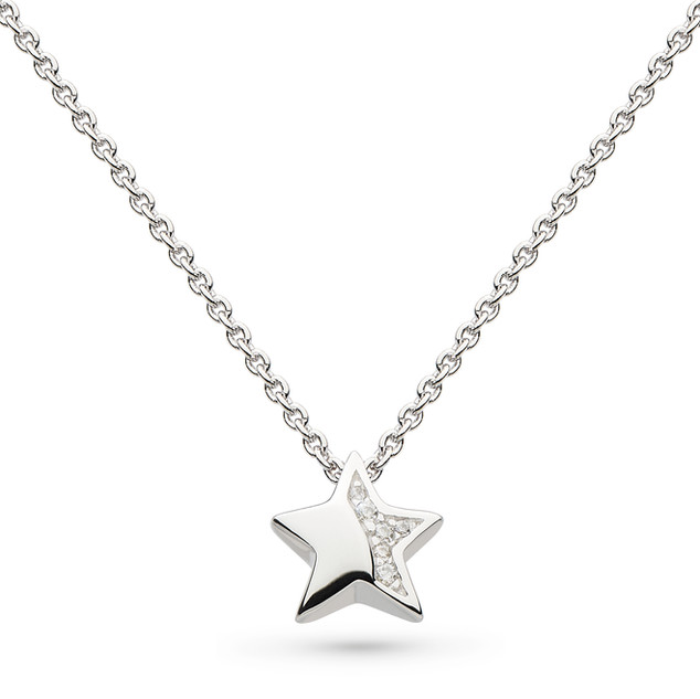 "Miniature Sparkle CZ Shining Star 17"" Necklace £52"