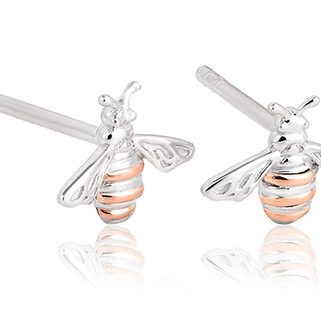 Honey Bee Earrings Sterling Silver and 9ct gold. 3SHNBE £79