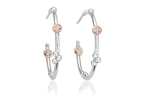 3SMHHE1 Clogau Celebration Half Hoop Earrings £149