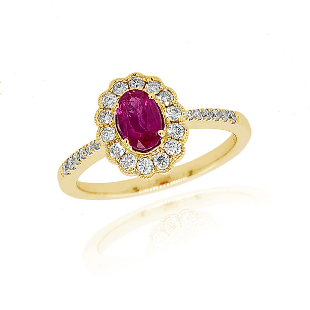 Ruby and Diamond Cluster £1250